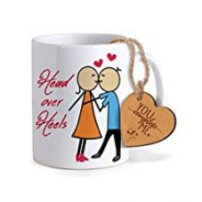 Buy TiedRibbons® Combo Gift for Boyfriend Coffee Mug(325ml) with Heart shaped Wooden Engraved Tag from Amazon