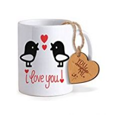 TiedRibbons® Gift for Boy Friend Coffee Mug(325ml) with Heart shaped Wooden Engraved Tag for Rs. 349