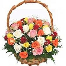 Indian Gift Emporium Lovely Mix Fresh Roses Flower Basket (Bunch of 25) for Rs. 990