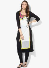 W Black Printed Kurta for Rs. 750