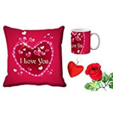 MeSleep Pink Love You Valentine Digital Printed Cushion (With Filler) & Mug With Free Artificial Rose And Key Chain for Rs. 579