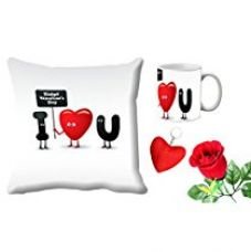 MeSleep Love You Valentine Digital Printed Cushion (With Filler) & Mug With Free Artificial Rose And Key Chain for Rs. 579