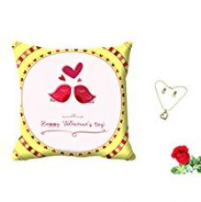 Buy meSleep Love Bird White Valentine Digital Printed Cushion (With Filler) With Free Artificial Rose and Pendant Set from Amazon