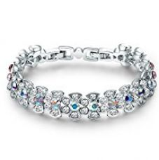 Yellow Chimes Crystals from Swarovski Mesmerizing Beauty Designer Silver Bracelet for Women and Girls for Rs. 1,999