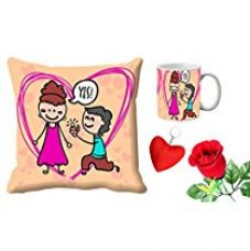 MeSleep Yes Valentine's Day Digital Printed Cushion (With Filler) & Mug With Free Artificial Rose And Key Chain for Rs. 579