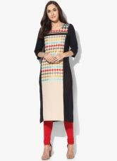 W Beige Printed Kurta for Rs. 900