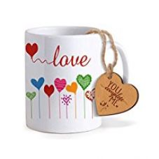 Buy TiedRibbons® Valentine Gifts For Girlfriend Coffee Mug(325ml) with Heart shaped Wooden Engraved Tag from Amazon