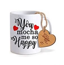 TiedRibbons® Valentine Gifts For Girlfriend Coffee Mug(325ml) with Heart shaped Wooden Engraved Tag for Rs. 349