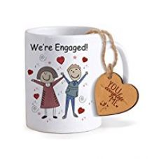 TiedRibbons® Valentine Gift For Girlfriend Coffee Mug(325ml) with Heart shaped Wooden Engraved Tag for Rs. 349
