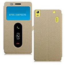 Buy Heartly GoldSand Sparkle Luxury PU Leather Window Flip Stand Back Case Cover For Lenovo A7000 / Lenovo K3 Note Dual Sim - Hot Gold from Amazon