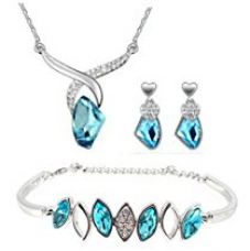 Buy Youbella Presents L'Amore Collection Crystal Jewellery Necklace Set With Earrings And Bracelet For Women (Blue) from Amazon