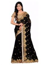 Buy Fancy Designer Sarees Bollywood Unique Embriodered Georgeet  Saree With Blouse Piece from Voonik