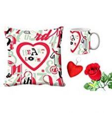 MeSleep Heart Love Valentine Digital Printed Cushion (With Filler) & Mug With Free Artificial Rose And Key Chain for Rs. 579