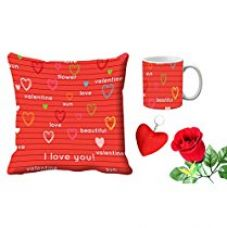 MeSleep Red Love You Valentine Digital Printed Cushion (With Filler) & Mug With Free Artificial Rose And Key Chain for Rs. 579
