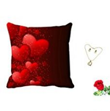 MeSleep Red Heart Valentine Digital Printed Cushion (With Filler) With Free Artificial Rose and Pendant Set for Rs. 419