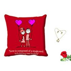 Buy meSleep Red Quotes Valentine Digital Printed Cushion (With Filler) With Free Artificial Rose and Pendant Set from Amazon