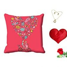 Buy meSleep Love You Valentine Digital Printed Cushion (With Filler) With Free Heart Shaped Filled Cushion and Artificial Rose and Pendant Set from Amazon