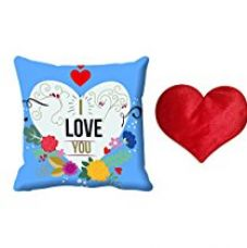 Buy meSleep Blue Love You Valentine Digital Printed Cushion (With Filler)-With Free Heart Shaped Filled Cushion from Amazon