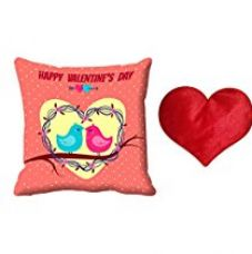 Buy meSleep Happy Valentine's Day Digital Printed Cushion (With Filler)-With Free Heart Shaped Filled Cushion from Amazon