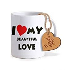 TiedRibbons® Valentines For Her Coffee Mug(325ml) with Heart shaped Wooden Engraved Tag for Rs. 349
