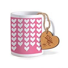 TiedRibbons® Valentine Gifts For Girlfriend Special Gifts Coffee Mug(325ml) with Heart shaped Wooden Engraved Tag for Rs. 349