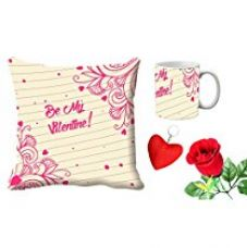 MeSleep Pink Be My Valentine Digital Printed Cushion (With Filler) & Mug With Free Artificial Rose And Key Chain for Rs. 579