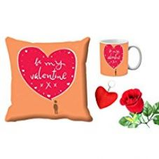 Buy meSleep Be My Valentine Pink Digital Printed Cushion (With Filler) & Mug With Free Artificial Rose And Key Chain from Amazon