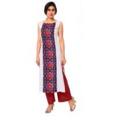 Buy AHALYAA White Colored Sleeveless And Boat Neck Faux Crepe Kurti from ShopClues