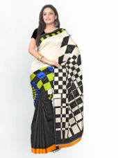 Get 76% off on Florence Off-White and Black Art Silk Printed Fashion Saree