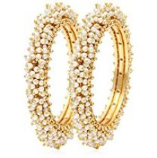 YouBella Jewellery Traditional Pearl Studded Gold Plated Bangles for Women and Girls for Rs. 400