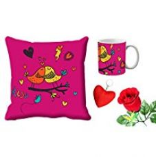 MeSleep Kissing Bird Valentine Digital Printed Cushion (With Filler) & Mug With Free Artificial Rose And Key Chain for Rs. 579