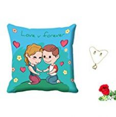 MeSleep Love You Forever Valentine Digital Printed Cushion (With Filler) With Free Artificial Rose and Pendant Set for Rs. 419