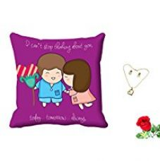 Buy meSleep Purple Quotes Valentine Digital Printed Cushion (With Filler) With Free Artificial Rose and Pendant Set from Amazon