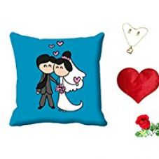 MeSleep Valentine Couple Digital Printed Cushion (With Filler) With Free Heart Shaped Filled Cushion and Artificial Rose and Pendant Set for Rs. 549