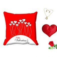 Buy meSleep Red Happy Valentine's day Digital Printed Cushion (With Filler) With Free Heart Shaped Filled Cushion and Artificial Rose and Pendant Set from Amazon
