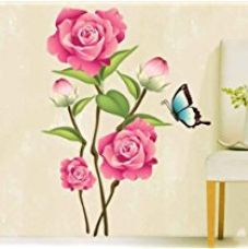UberLyfe Rose Flower with Butterfly Wall Sticker Size 3 (Wall Covering Area: 80cm x 60cm) - WS-000079 for Rs. 265
