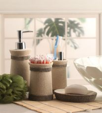 Shresmo Grey Polyresin Cube 5-piece Bathroom Accessory Set for Rs. 2,959