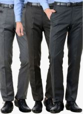 Buy American-Elm Pack Of 3 Multicoloured Solid Slim Fit Formal Trousers from Jabong