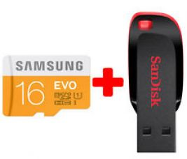 Samsung Evo 16 GB Class 10  Memory Card + Sandisk 16GB Cruzer Pen Drive for Rs. 997