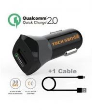 Get 50% off on Tech Sense Lab Qualcomm ® Certified Car Mobile Charger - Quick Charge 2.0 - 1m Micro USB Cable