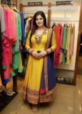 Flat 85% off on Stylish Yellow Anarkali With Tribal Design By Purple Oyster
