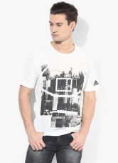 Flat 50% off on Adidas Side Aop White Printed Round Neck T-Shirt