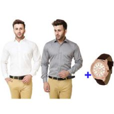 Buy Austin-M Men's Formal Shirt Pack of 2+ Watch (AUSTIN_ M_ FS_ 022), white and grey, l from Infibeam