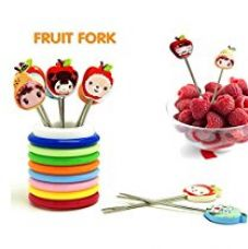 Buy Ylloolly Color Rings Designer Fruit Fork Stand With 8 Cartoon Shape Fruit Forks from Amazon