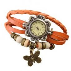 Buy Vintage Weave Wrap Orange Leather Wings Women Bangle Bracelet Vintage Watch for Rs. 245