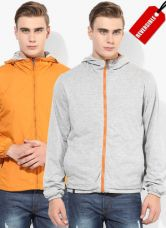 Flat 55% off on United Colors of Benetton Orange Solid Windcheater