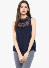 Mayra Navy Blue Solid Tops for Rs. 418