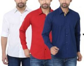 Buy Stylox Pack Of 3 Stylish Multicolor Shirts For Men from Rediff
