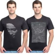 Black round neck designer Tees for men (pack of 2) for Rs. 299