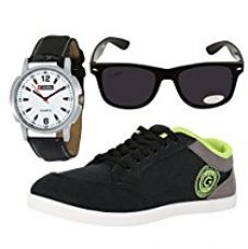 Buy Globalite Men's Black/Grey/Green Casual Shoes With Watch & Sunglass - 8 from Amazon